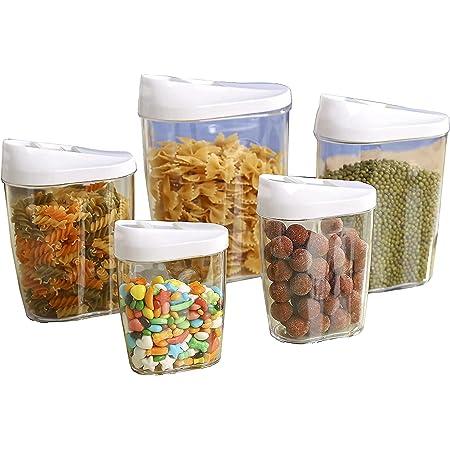 5 Pièces Transparent Boîte Alimentaire Hermétique de Rangement Conservation à Céréales Fruits Secs 1440 ml, 960 ml, 720 ml, 480 ml, 300 ml