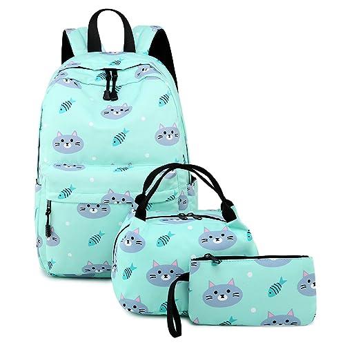5589cabd38 Abshoo Cute Lightweight Kids School Bookbags Cat Girls Backpacks with Lunch  Bag (Cat Blue Set
