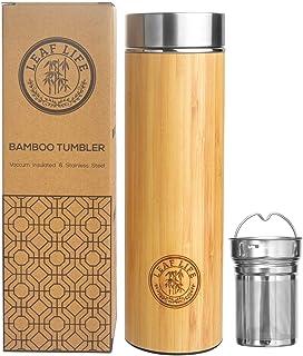 Original Bamboo Tumbler with Tea Infuser & Strainer by LeafLife   17oz Premium Tea..