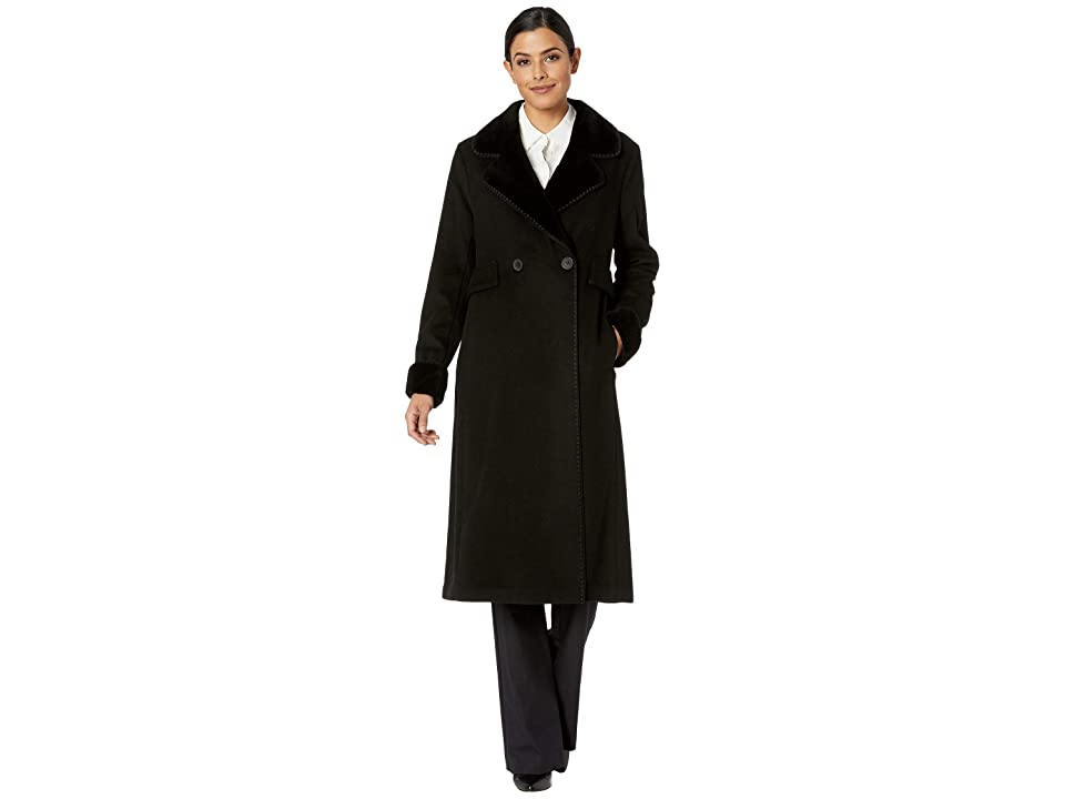 LAUREN Ralph Lauren Two-Button Maxi Wool (Black) Women
