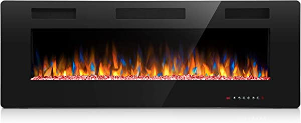Joy Pebble 50 Inches Electric Fireplace In Wall Recessed And Wall Mounted 750 1500W Fireplace Heater Touch Screen Remote Control With Timer Black