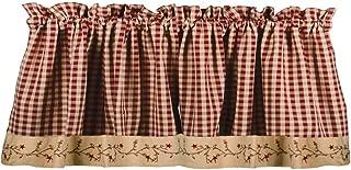 Primitive Home Decors Star Berry Vine Check Valance - Barn Red