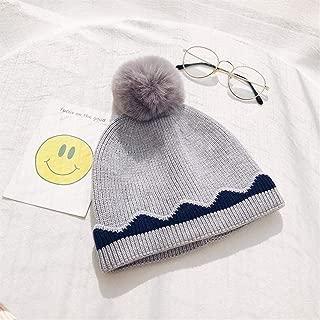 ZiWen Lu Women Fall and Winter Wool Cap Influx of Female Korean Leisure Wild Sweet Wave Edge Hair Bulb Warm Knit hat (Color : Grey, Size : One Size)