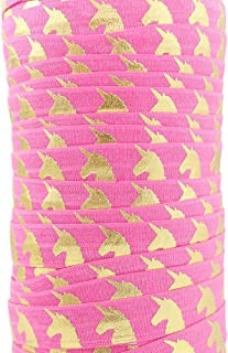 HMR Foil Gold Unicorn Printed Fold Over Elastic Ribbon Webbing Fabric 10 Yards (hot pink)
