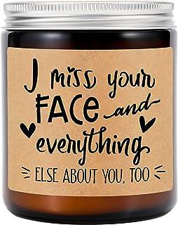 شموع GSPY معطرة برائحة اللافندر - هدايا العلاقات لمسافات طويلة - أفتقد وجهك - أفضل صديق ، هدايا الصداقة - عيد الميلاد ، كو...