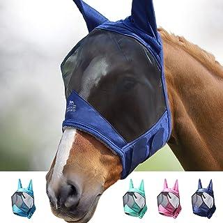Harrison Howard CareMaster Pro Luminous Horse Fly Mask Standard with Ears UV Protection for Horse-Navy(L; Full Size)