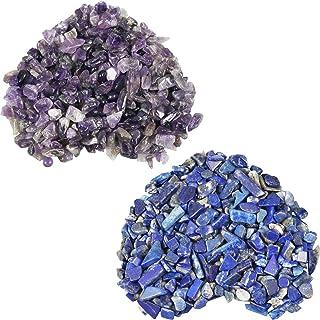 "SUNYIK Amethyst/Lapis Lazuli Chips Stone Crushed Healing Crystal Quartz Rocks Reiki Decoration Irregular Shaped, 0.1""-0.5"", 0.5lb, Pack of 2"
