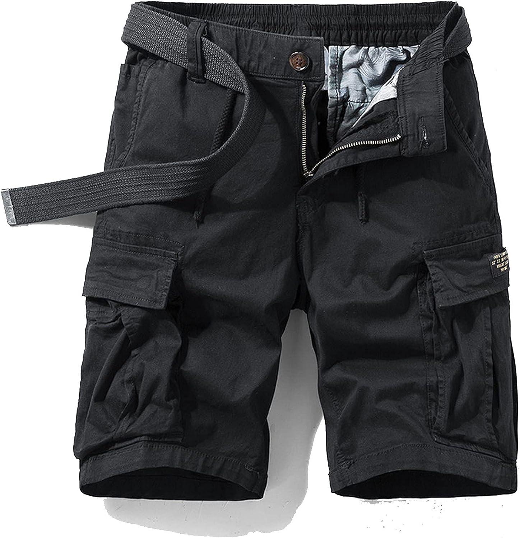 Zhang Q Spring Men Cotton Cargo Shorts Clothing Summer Casual Breeches Bermuda Fashion Beach Pants Los Cortos Short-Black1-36