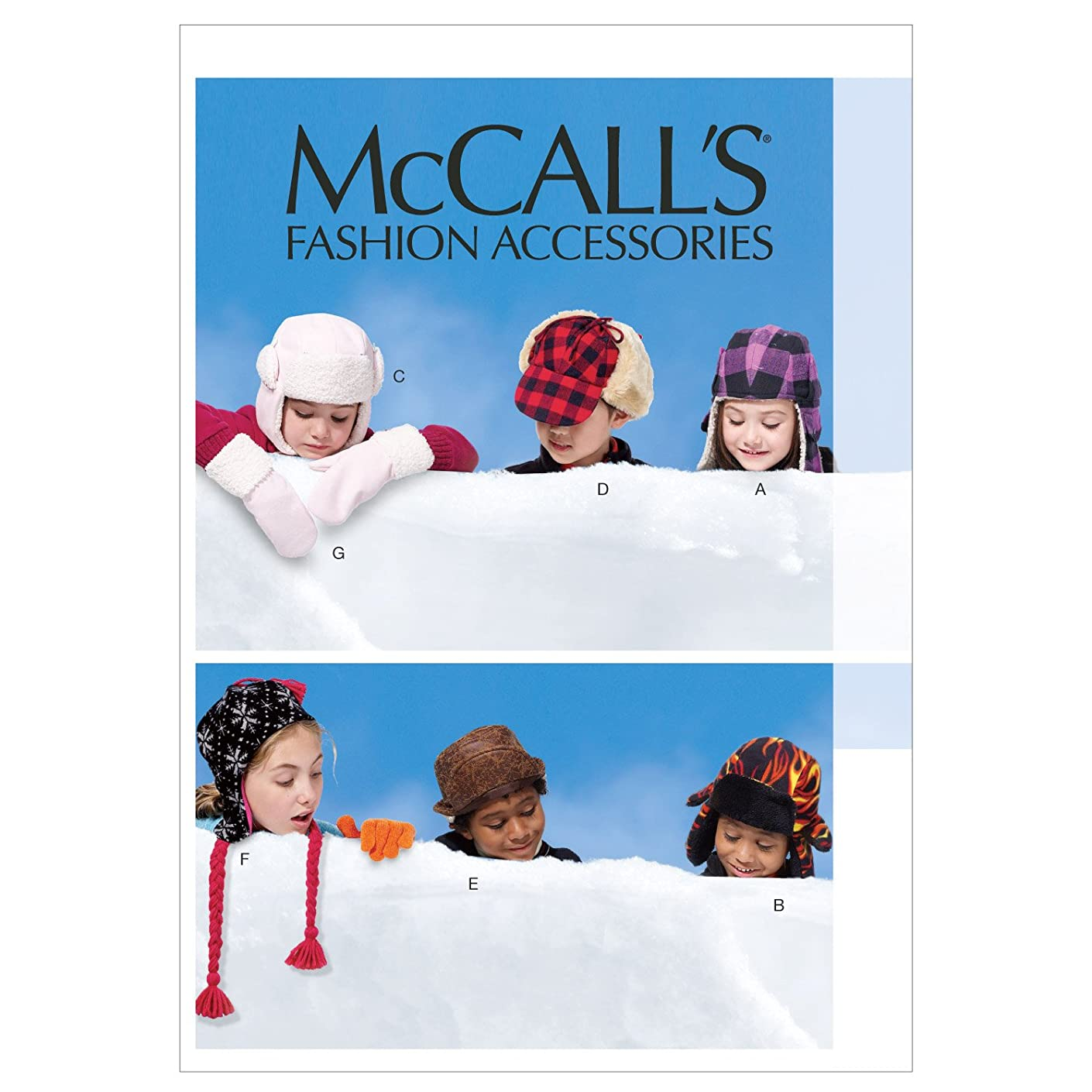McCall Patterns M6665 Children's/Boys'/Girls' Hats and Mittens Sewing Template
