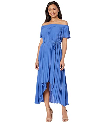 Maggy London Silky Georgette Off the Shoulder Pleated High-Low Hem (Blue) Women