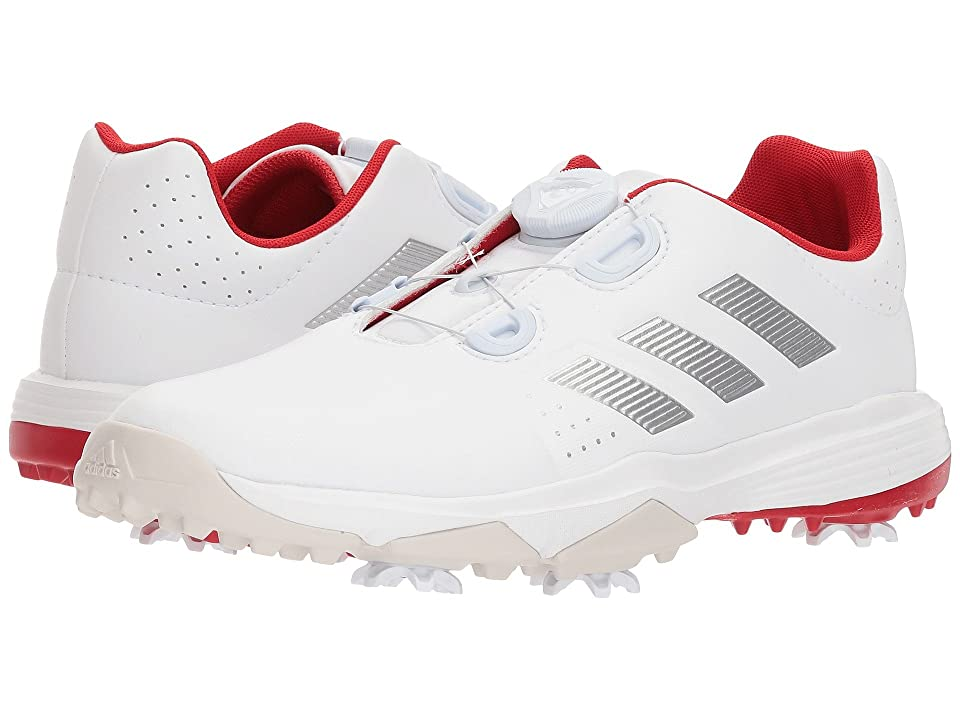 adidas Golf Jr. Adipower Boa (Little Kid/Big Kid) (Footwear White/Silver Metallic/Scarlet) Golf Shoes