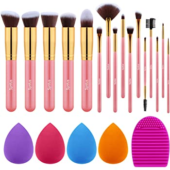 Syntus Makeup Brush Set, 16 Makeup Brushes & 4 Blender Sponges & 1 Brush Cleaner Premium Synthetic Foundation Powder Kabuki Blush Concealer Eye Shadow Makeup Brush Kit, Golden Pink
