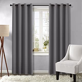 NICETOWN Blackout Curtain Panels for Living Room - (Gray/Grey Color) 52 inches x 84 inches, Pair of Noise Reducing Drapes Thermal Insulated Window Coverings with Grommets