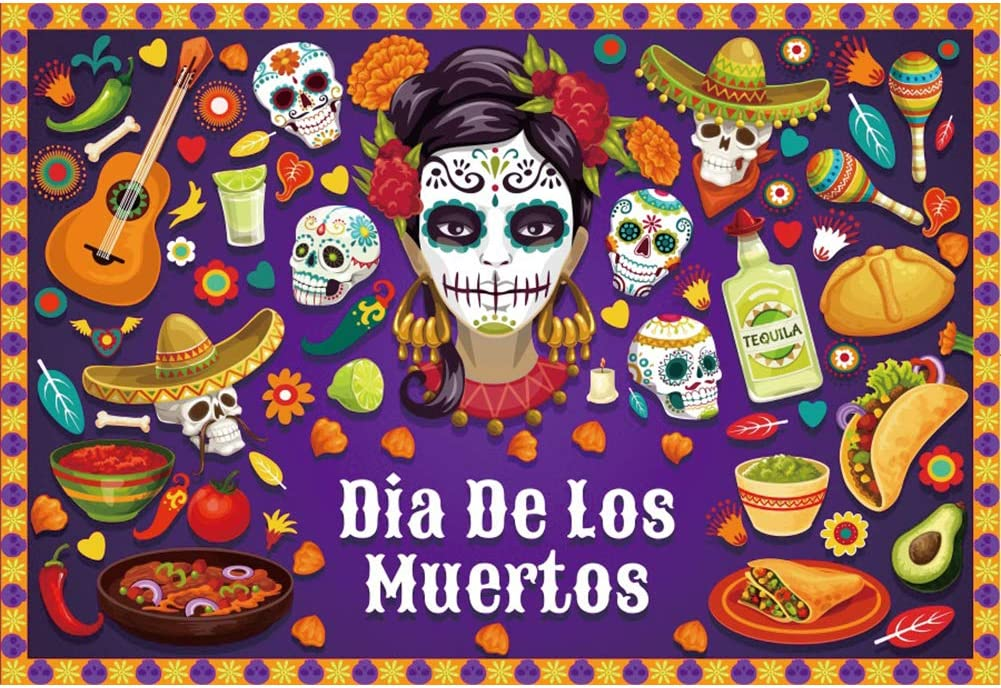 CSFOTO 8x6.5ft Max 42% OFF Our shop OFFers the best service Day of The Dead DE Mexican Dia Backdrop Lo Fiesta