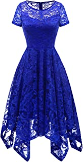 Women's Elegant Short Flare Sleeves Floral Lace Asymmetrical Hanky Hem Cocktail Party Bridesmaid Dress
