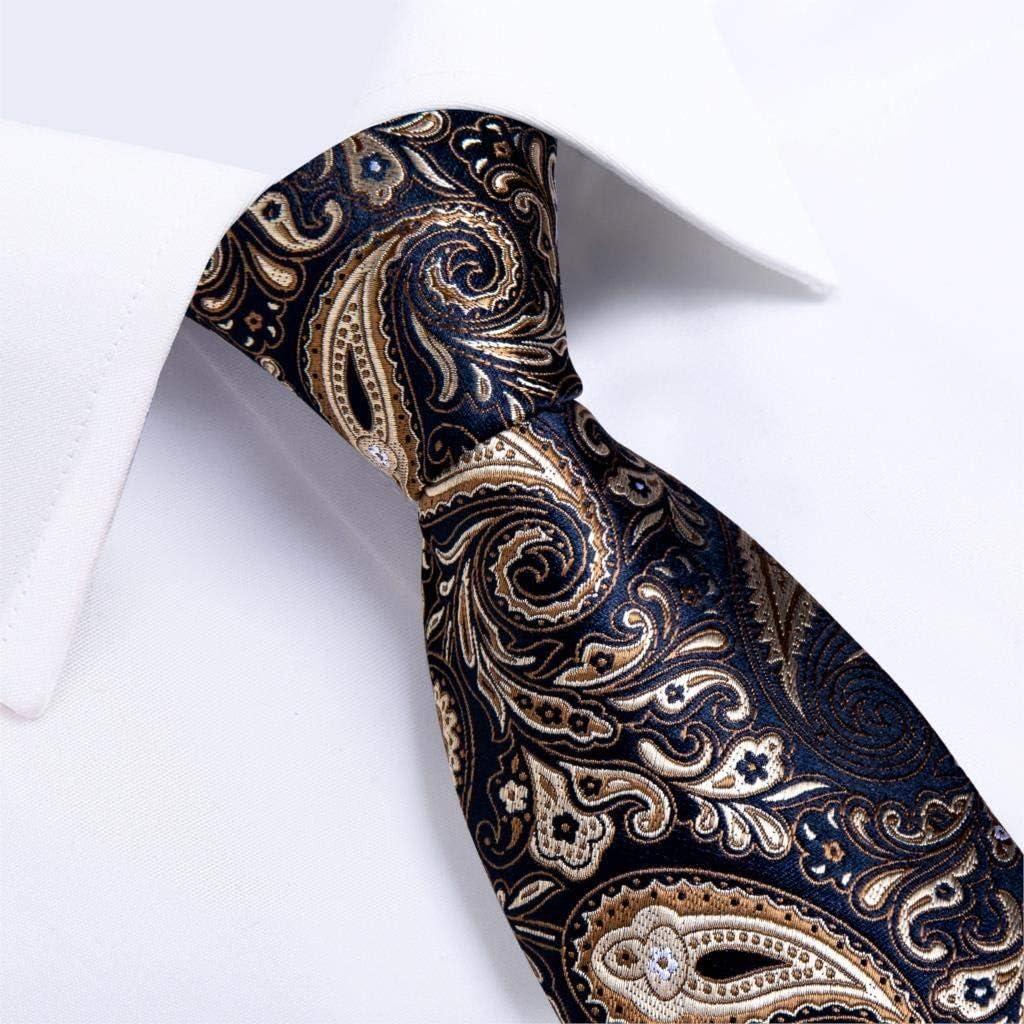 JIEIIFAFH Design Mens Necktie Black Gold Paisley Silk Wedding Tie Compatible with Men Tie Hanky Cufflink Ring Set