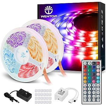 WenTop LEDテープ 20m 超長 ウルトラロング ライトスーツ 両面テープ SMD 5050 非防水 600連 30leds/m 正面発光ledテープ led RGB 12v電源と44K リモコン 高輝度 切断可能 明るいライト(2x10m)