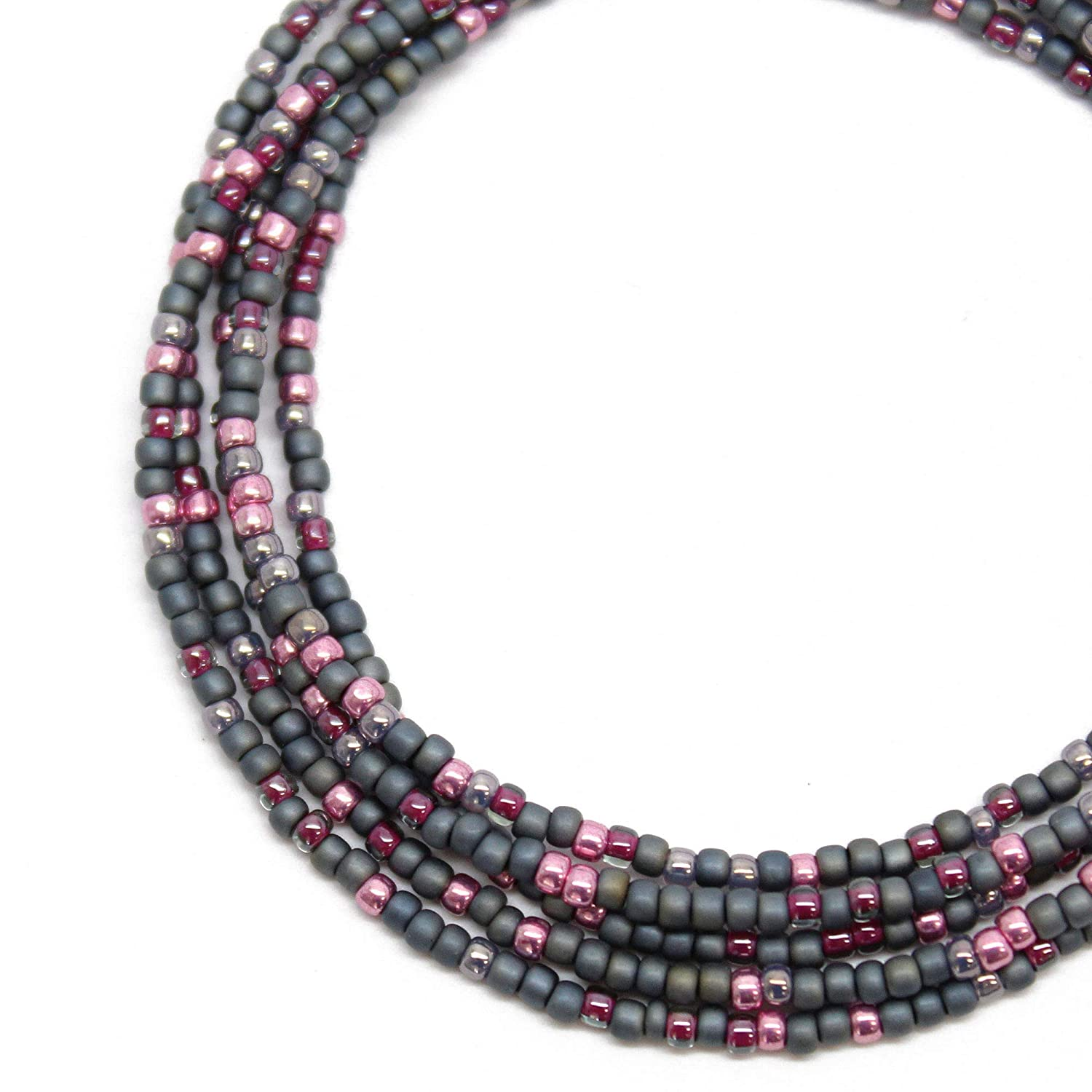 excellence Grey and Pink Seed Bead Single Necklace Stran Beaded Glass Dallas Mall