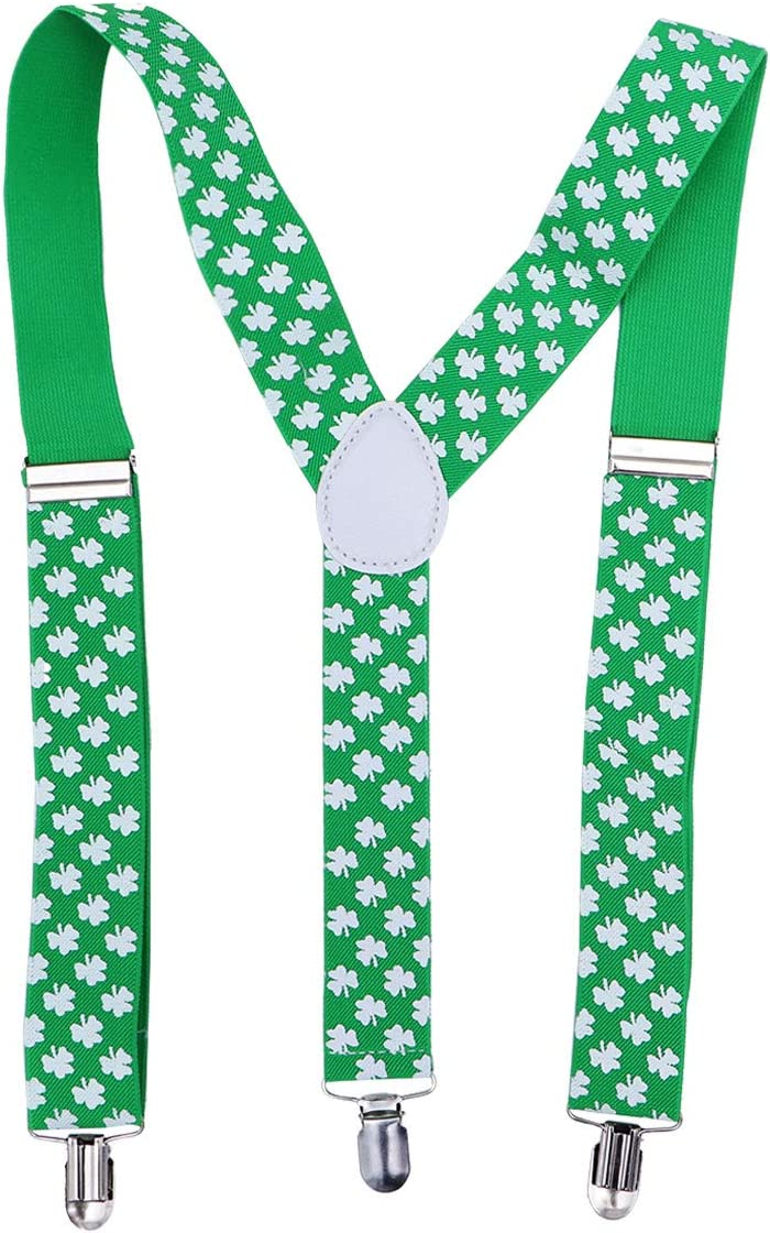 LUOEM Green St. Patrick's Day Suspenders for Men Women Shamrock Suspenders St. Patrick's Day Costume Accessories for Parade Performance