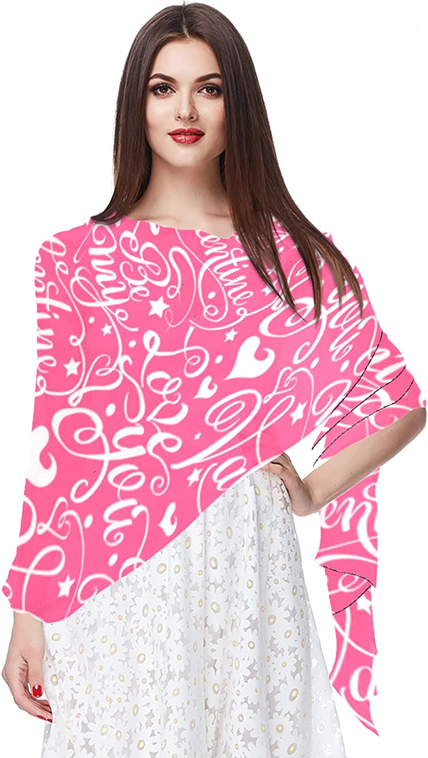 Pink Valentine's Day Love Pattern Red Women's Fashion Long Shawl Large Scarf Lightweight Scarves and Wraps for Holiday