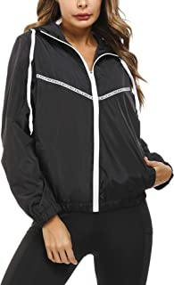 Sponsored Ad - Akalnny Women's Full Zip Waterproof Raincoat Trench Jacket With Drawstring Hood For Camping Hiking
