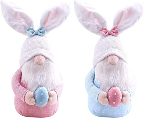 Easter Bunny Gnome Decoration with Easter Egg, Handmade Plush Easter Ornaments Holding Egg, Bunny Gnomes Ornaments, Easter Desktop Bunny Easter Gnome, Indoor Spring Decor, Birthday Gift Set of 2