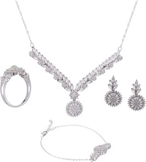 Azaleas Jewelry Set Inlaid Zircon for Women