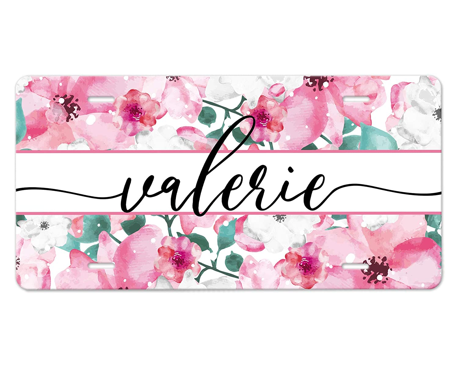 Custom Text Frontal License Plate Cherry 40% OFF Cheap Sale Max 70% OFF Flower Blossom Pink