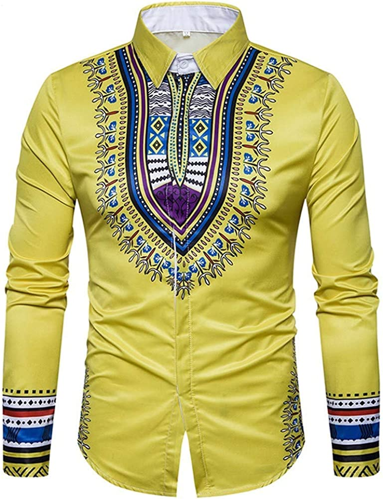 Loeay Otoño Casual Camisas de Estilo Africano Estampado ...
