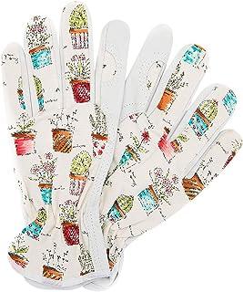 Worth Garden Cute Canvas & Leather Working Gloves for Women Gardener Planting,Restoration Work,Durable Protective Gardening Gloves, Cheerful Bonsai Print Design,Small Size