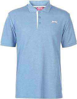 Slazenger Mens Plain Polo Shirt Short Sleeve Collar Neck Summer Casual Top Denim Marl XXX Large