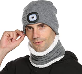 Sponsored Ad – Unisex LED Beanie Hat Scarf Set,Warm Knitted Hat and Circle Scarf, Winter Hat with Light, Skiing Hat Neck W...