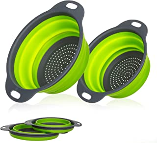 Miswaki Collapsible Colanders with Handles (2 Pc. Set) Round Kitchen Sink Strainers   Heat-Resistant Silicone   Stackable, Space-Saving Design   Pasta, Vegetables, Hot Water (Green)