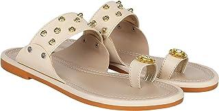 Footshez Women's Golden Flat Sandal   Women's Footwear
