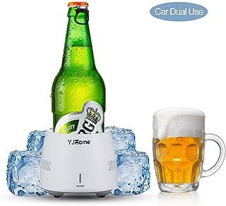 Smart Beverage Cooler Cup YJHOME 350ML Fast Cooler Electric Cooling Mug Cup Portable Mini Desktop Beverage Cooler Refrigerator US Plug with Food-grade Aluminum Mug For Beer Cola Water Milk Wine Drink
