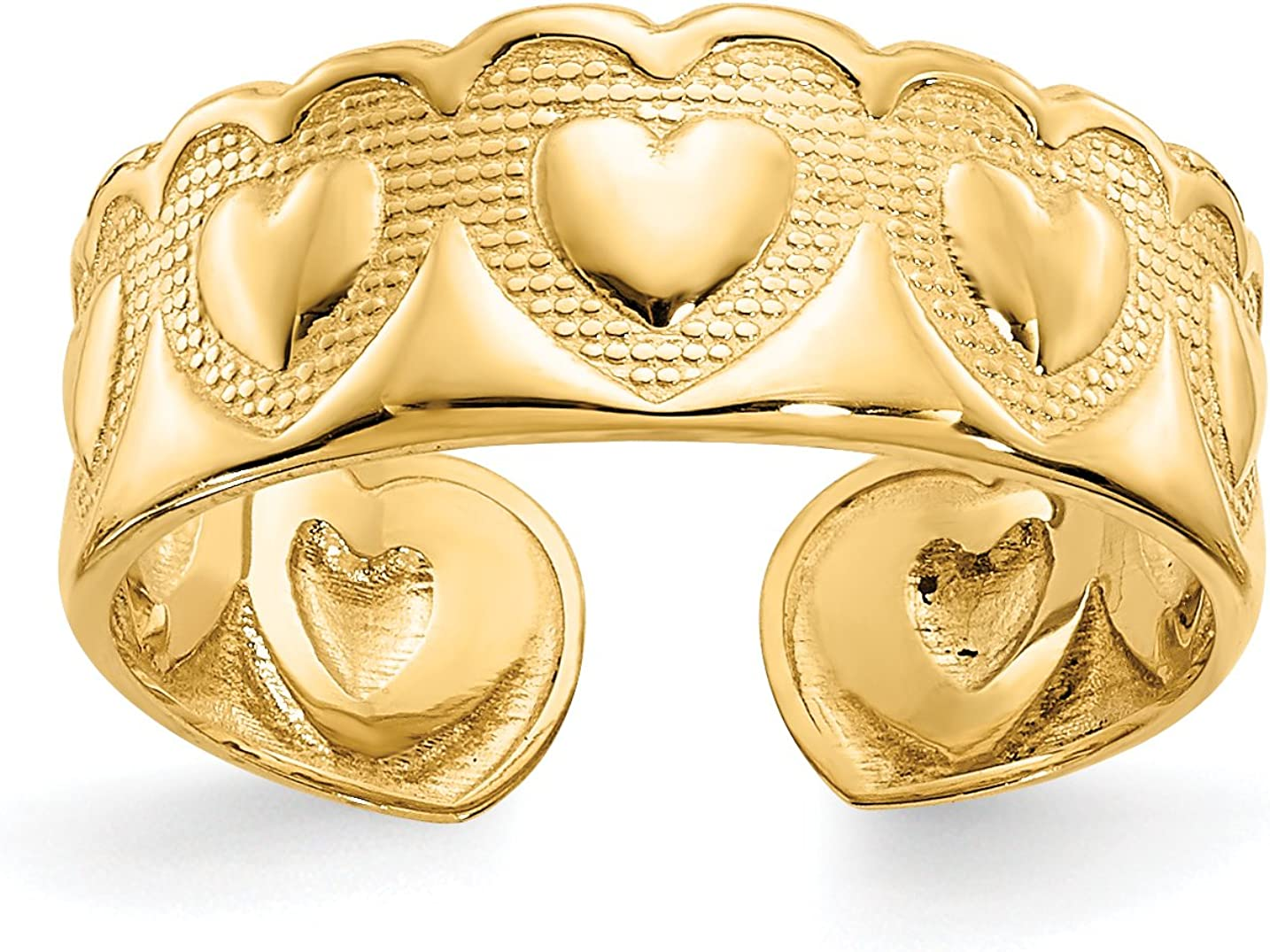 14k Yellow Gold Polished Hearts Inside Textured Relief Toe Ring