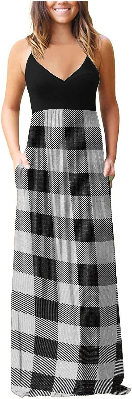 Tavorpt Summer Dresses for Women Maxi Sleeveless Sexy Striped patchwork Casual Sundress Beach Party Split Cami Long Dress