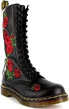 Dr. Martens Womens Vonda Black Leather Combat Roses Lace Up Mid Calf Boot - Black - 8