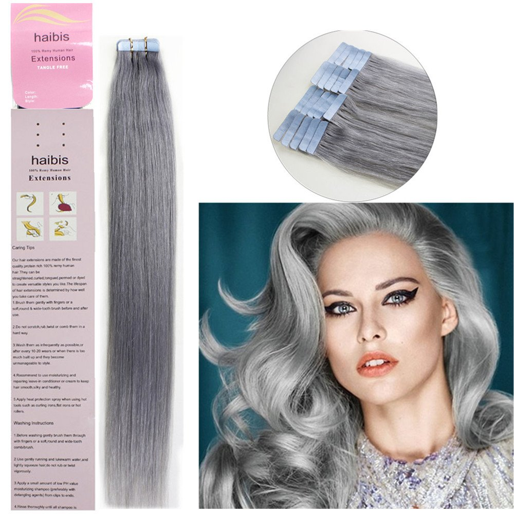 haibis 16''-24''Remy Tape Ranking TOP8 in Human Straight Extensions Hair Skin Max 56% OFF