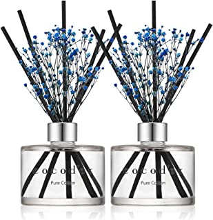 Cocod'or Preserved Real Flower Reed Diffuser, Pure Cotton Reed Diffuser, Reed Diffuser Set, Oil Diffuser & Reed Diffuser Sticks, Home Decor & Office, 2 Pack