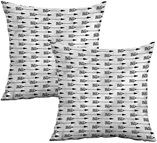 Khaki home Arrow Square Funny Pillowcase Horizontal Sketch Monochrome Square Funny Pillowcase Cushion Cases Pillowcases for Sofa Bedroom Car W 24