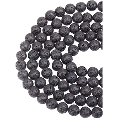 300pcs Black Lava Stone Round Loose Beads with Free Crystal String for Jewelry Making by Paxcoo