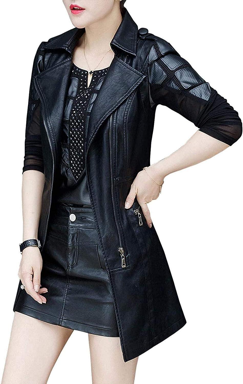 Women's Stylish Faux Leather Moto Long Vest Jacket with Belt