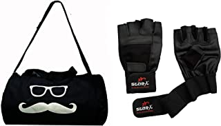 StarX Home Gym Exercise Polyester Set of MS-GB-700 Kit Bag with Leather Gym Gloves (Black)