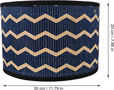 Mobestech E27 Bam- Lampshade Japanese- style Drum Lampshade Mid- Century Modern Style Light Cover for Bedside Table Floor Cha
