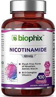 B-3 Nicotinamide 500 mg 100 Caps - Nicotinic Amide Niacin Natural Flush-Free Vitamin Formula - Supports Skin Cell Health