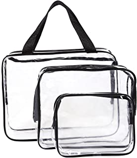 Juvale Set of 3 Travel Toiletry Bag - Clear Make-up Bags, Waterproof Plastic Zipper Cosmetics Tote and Pouches, Assorted Sized Organizer Kit for Traveling, Gym Training, Swimming