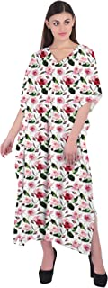 RADANYA Women Caftan Summer Wear Floral 3/4 Sleeve V-Neck Cotton Kaftan Dress