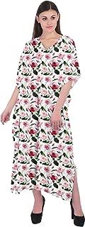 RADANYA Women Caftan Summer Wear Floral 3/4 Sleeve V-Neck Cotton Kaftan Dress