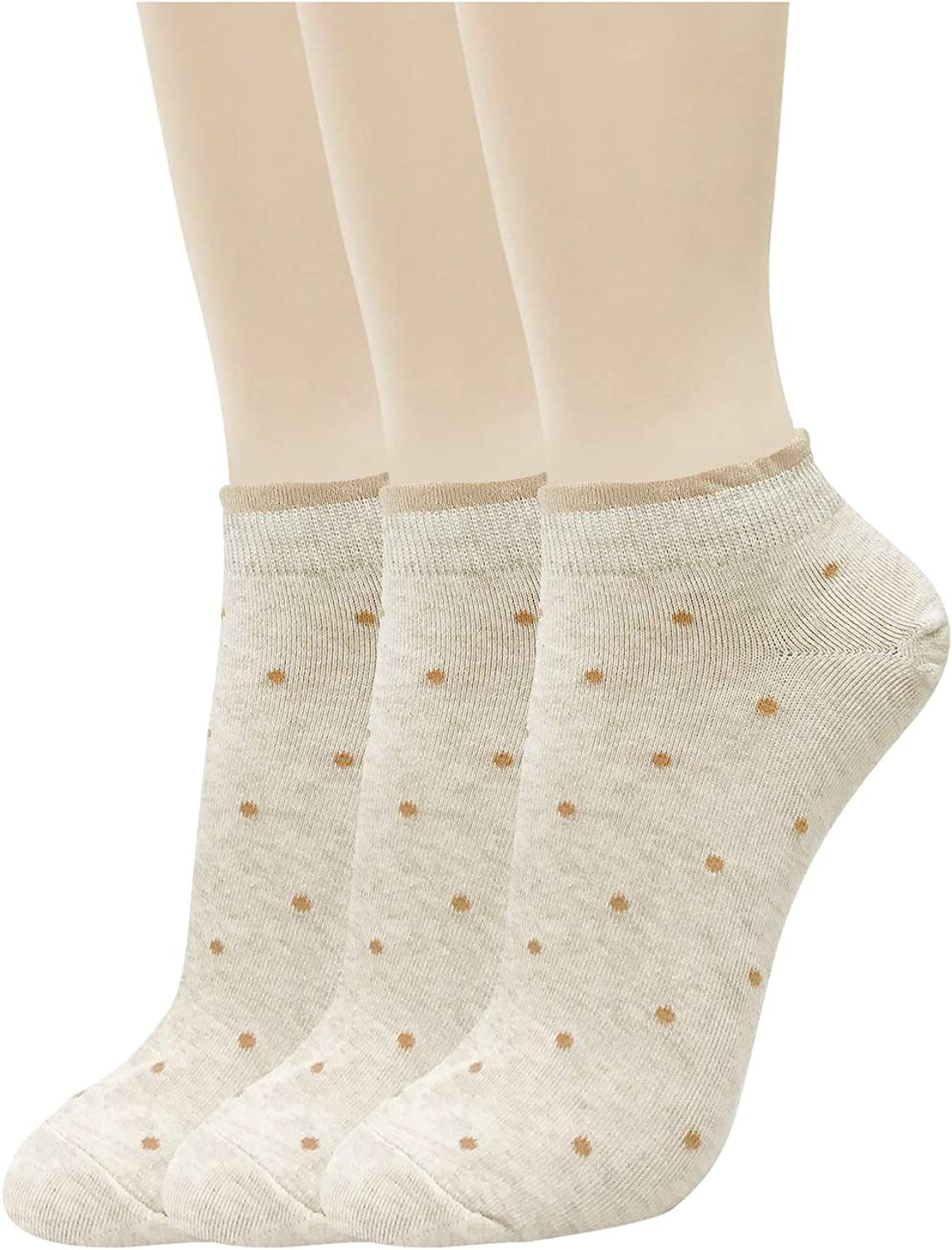 CUTIE MANGO Women's Casual Cute Dot Lace Low Cut Sneaker Ankle Socks Liners 6 Colors / 3 to 12 Pairs